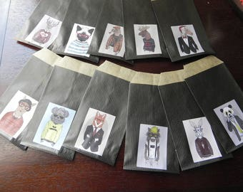 12 Kraft envelopes animal COSTUMES Black 7 x 12 cm