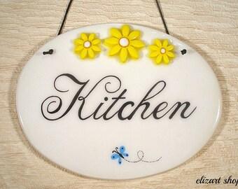 Kitchen wall sign, kitchen ceramic sign, kitchen plaque, hand painted kitchen sign, kitchen ceramic art, kitchen wall art, kitchen decor.
