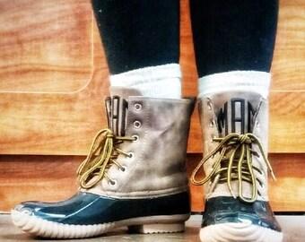 Monogrammed Duck Boots
