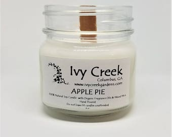 Apple Pie Candle, Apple Pie, Natural Candle, Wood Wick Candle, Crackle Candle, Soy Candle, Wood Wick Candle, Gifts for Her, Fall