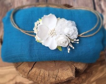 Soft Cheesecloth Wrap with headband Baby Newborn Photography Prop In blue