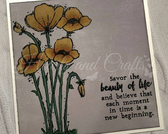 Handcrafted Greeting Card - Poppies (PAT-0039)