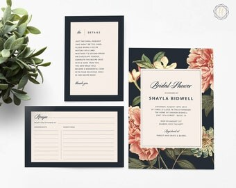 Bridal Shower Invitation, Bridal Shower Invitation and Recipe Card, Bridal Shower, Navy Blue Invitation, Boho Bridal Shower Invitation, #VCS