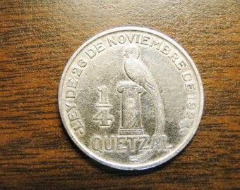 1926 Guatemala 1/4 Quetzal - Silver - Very Nice Coin!