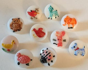 Lot 10 Milk Glass  Animal Bird Vintage Buttons Old Duck Elephant Dog Ladybug Turtle Owl Mouse