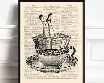 Wonderland Poster, Wonderland Gift, Alice Adventures Art, Wife Birthday gift, Gothic Literature, Alice Dictionary, Surreal Wall Decor 283