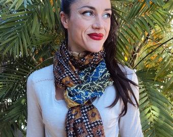 Wrinkled silk scarf
