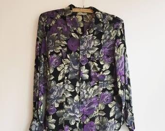 Vintage sisley floral hippie bohemian retro top blouse S
