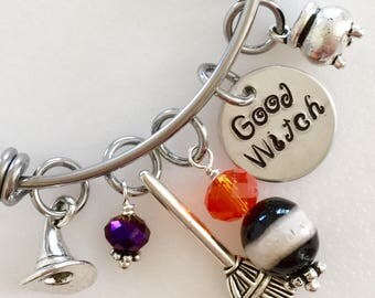 """Halloween Bangle, Halloween Bracelet, """"Good Witch"""" """"Bad Witch"""" Hand Stamped Disc, Witch Hat, Broom, Caldron, Adjustable Stainless Steel"""