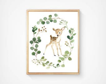 Baby deer, fawn , woodland nursery, nursery print, deer painting, deer illustration, nursery room design, animal painting, watercolor