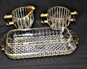 """Vintage Mid Century Jeannette Glass """"National"""" 3 Piece Set Clear Beaded & Ribbed Trimmed In Gold Sugar Dish, Creamer, Relish Tray  1940's"""
