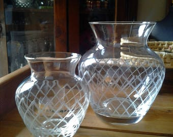 Antique handblown Etched Vases