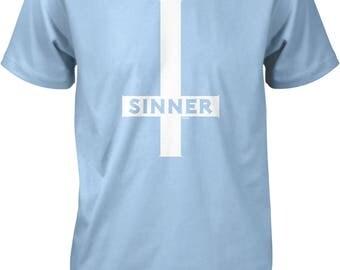 Sinner, Inverted Cross Men's T-shirt, NOFO_01162