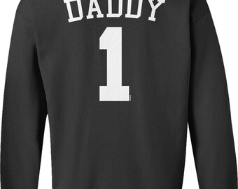 Back Print, Daddy 1, Jersey Number Design, Happy Father's Day Crew Neck Sweatshirt, NOFO_01282