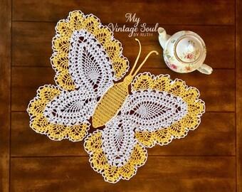 Butterfly crochet Art  - Vintage Crochet Doily - Handmade Doily - Farmhouse Decor - Wedding Gift - Crochet Lace Doily - Butterfly Wall Art