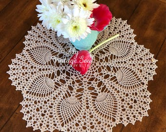 Natural Lace Doily - Farmhouse Decor - Pineapple Doily - Housewarming Gift - Coffee Table Doily - Rustic Table Decor - Anniversary Gift