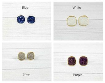 Druzy Studs, Druzy Stud Earrings, Druzy Earrings, Minimal Modern Studs, Druzy Post Earrings, Druzy Stone Jewelry,Bridesmaid Earrings,Wedding