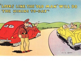 Vintage WWII Military Army Humorous Cartoon Linen Postcard MWM Color-Litho Vintage Cars Unposted