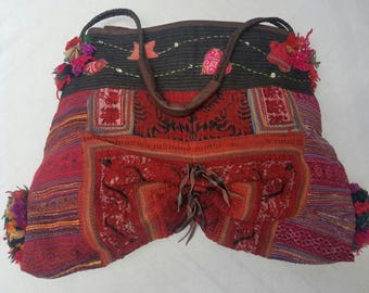 Boho tote bag, vintage SE Asian textile and leather