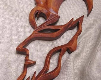 Wooden sign Capricorn, Capricorn,  Capricorn Constellation,  Woodcarving Capricorn, Carving wall, Capricorn mask