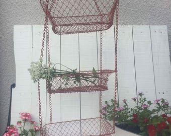 French wire hanging basket