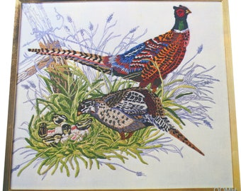 Pheasant Family Hallmark Cards Collection Vtg Crewel Embroidery Kit Linen Wool