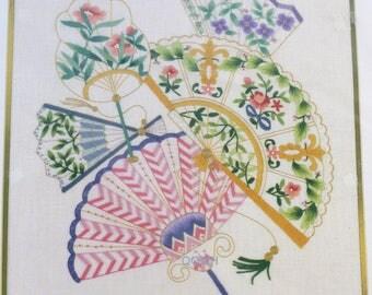 Elsa Williams GOLDEN AGE FANS Crewel Embroidery Kit Beads Pearls Metallic Thread
