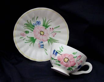 Blue Ridge Cup and Saucer LAURIE Tea or Coffee Vintage Southern Potteries Handpainted Pink Flower Colonial Dinnerware (B33) 6546