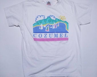 Cozumel Vintage White T Shirt of Boats on Beach XL