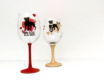 I Love My Bully Personalized Wine Glass