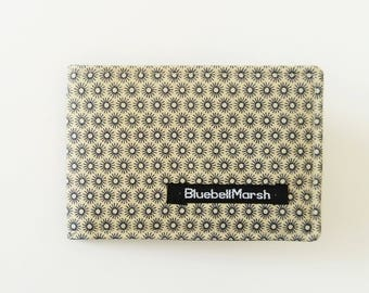 Dot floral travel card holder, navy/tan