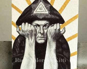 Aleister Crowley, Occultist, Magick, Golden Dawn, Poet, Painter, Original Art, Vintage, Thelema