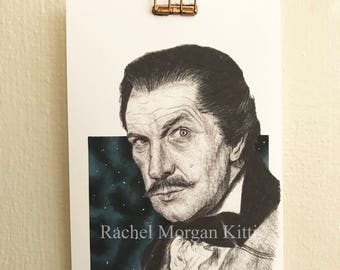 Vincent Price, Old Hollywood, Art Print, Horror, Actor, 1960s, Vintage, Portrait, Print
