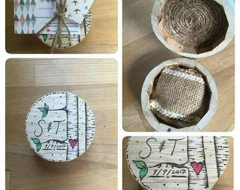 Personalised quirky Rings bearer box. Wedding ring box, wooden handmade wood burned birch tree and heart design.