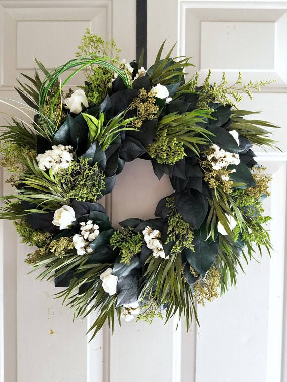 "Preserved wreath, 15"" wreath,  small wreath, cream roses wreath, natural wreath decorative wreath, lemon leaf wreath"