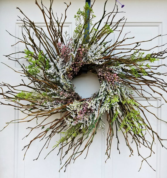 Custom order reserved for Lauren  wreath, rustic wreath, country wreath, pink wreath, decorative wreath, natural wreath, dried wreath