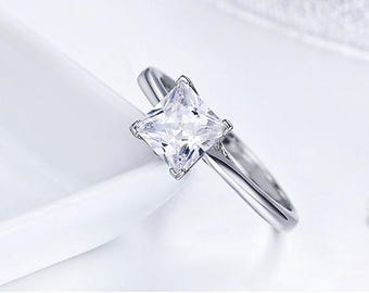 Classical wedding jewelry Princess Cut Square AAA+ CZ White Gold Color