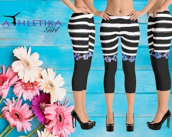 Spring Pattern Low Rise Capri Yoga Leggings Flowers Stripes Floral  Pants Tights Black White Festive Wear Woman Girl Clothing Gym Fitness