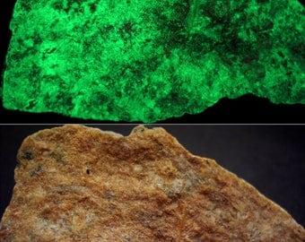 fluorescent WILLEMITE with ZINCITE, FRANKLINITE- Sterling Mine, New Jersey