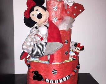Red Minnie diaper cake