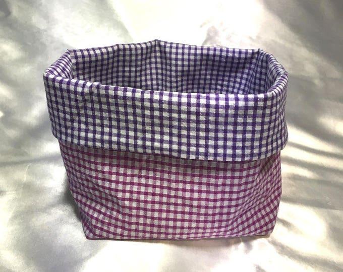 Panière en tissu vichy rose et violet réversible