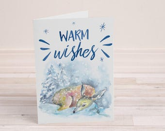 Warm Wishes Card - Winter Deer - Christmas Card - Winter Greeting Card - Watercolor Deer - Watercolor Christmas Card - 5 x 7 Greeting Card