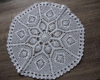 Crochet DOILY thread white cotton 40 cm in diameter