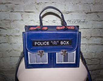 Leather Handbag, Doctor Who inspired TARDIS design - Custom order