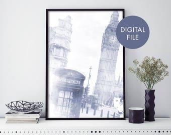 London Phone Booth, Big Ben Watercolour Print Wall Art   Print At Home   Digital Download File