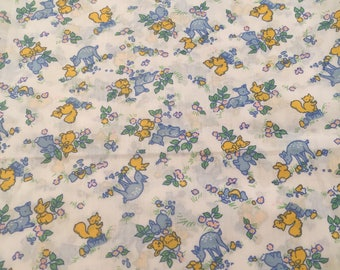 70s Children Nursery Fabric, Blue Deers, Yellow and Blue Rabbits, Yellow Squirrels - 1.12m x 1.13m