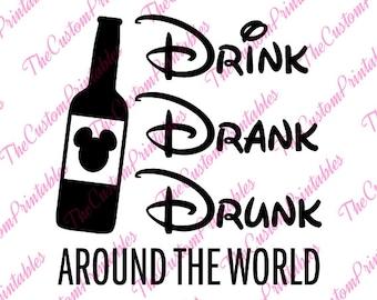 Drink, Drank, Drunk, Bottle,Mickey, Head, Disney, SVG, Cricut Files, Silhouette Files, Cameo, Vector, T-shirt, Iron On