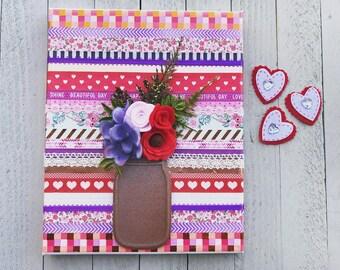 Valentine's Day Washi Tape Mason Jar Canvas Wall Art, Valentine's Day Mason Jar Decor, Valentine's Day Canvas wall art, Valentines Day Decor