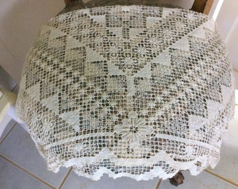 "Antique Exquisitely Fine Handmade French Filet Lace Crocheted Table Topper, 33""x 33"""