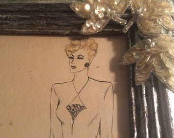 Vintage 1930-40's Original Fashion Ink and Watercolor, Silver leaf Wood Frame with Glass and Deco Appliques